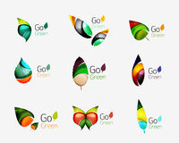 Colorful geometric nature concepts - abstract leaf logos, multicolored icons, symbol set Stock Photo