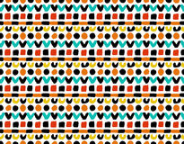 Colorful Geometric Painted Pattern. Vector Colorful Geometric Painted Seamless Pattern. Brush strokes, dots, funny childish hippie design. Retro 70s textured Vector Illustration
