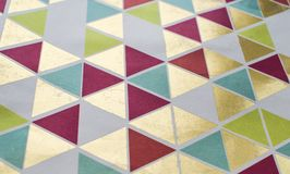 Colorful geometric pattern background. Triangle print design.  stock photography