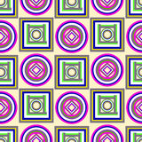 Colorful geometric pattern with circles and squares Royalty Free Stock Photography