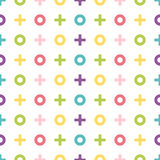 Colorful geometric pattern of noughts and crosses. Geometric sea Stock Photography