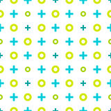 Colorful geometric pattern of noughts and crosses. Seamless back Stock Photography