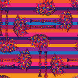 Colorful geometric seamless floral African palm trees. Hawaiian tropical ornament Royalty Free Stock Photos