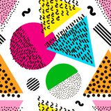 Colorful geometric seamless pattern. Bright background. 80`s - 9. 0`s years design style. Trendy. Vector illustration stock illustration