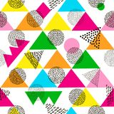 Colorful geometric seamless pattern. Bright background. 80`s - 9. 0`s years design style. Trendy. Vector illustration vector illustration