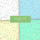 Colorful geometric seamless pattern different shapes color styl. Trendy memphis style. Colorful geometric seamless pattern set different shapes color style stock illustration
