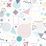 Colorful geometric seamless pattern. Hipster Memphis style. Geometric seamless pattern color style consisting of line geometric different shapes and lines vector illustration