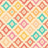 Colorful geometric seamless pattern made ​​in ikat technique Royalty Free Stock Photo