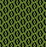 Colorful geometric seamless pattern, symmetric endless vector ba. Ckground with intertwine green and black lines. Abstract vertical concept splicing covering stock illustration