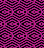 Colorful geometric seamless pattern, symmetric endless vector. Background with intertwine magenta lines. Abstract concept splicing covering stock illustration