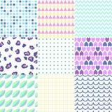 Colorful geometric seamless patterns set. Royalty Free Stock Photography