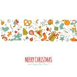 Colorful geometric shape vector with christmass drawing elements Royalty Free Stock Images