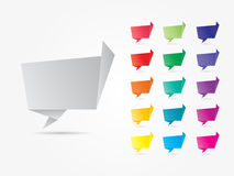 Colorful Geometric Speech Bubbles. Differently Colored Cheerfull Geometric Speech Bubbles Origami Style Stock Photo