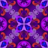 Colorful geometric spirals vector seamless pattern. Fractals fantasy floral background with illuminated effect. Purple violet blue. Neon lines, shapes, flowers stock illustration