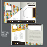 Colorful geometric style half-fold brochure template. Colorful geometric style half-fold template for advertising concept brochure Stock Photo
