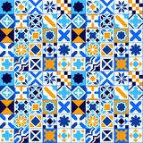 Colorful geometric tiles seamless pattern in blue orange and white, vector Stock Photography