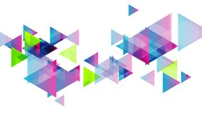 Colorful geometric triangles tech video animation stock illustration