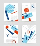 Colorful geometric and typography template set. Colorful geometric and typography template design set Stock Image