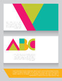 Colorful geometrical business card with abc letters. Vector illustration stock illustration