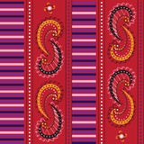 Colorful geometrical paisley seamless repeatable vector pattern. Stock Photos