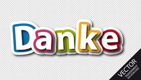 Colorful German Word Thank You - Vector Illustration - Isolated On Transparent Background royalty free illustration