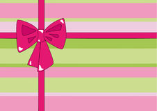 Colorful gift. Illustration of colorful gift, pink cross ribbon and bow Stock Photos