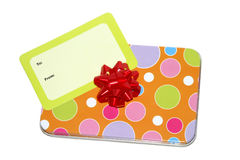 Colorful Gift. Small colorful gift with bow and giftcard Royalty Free Stock Images