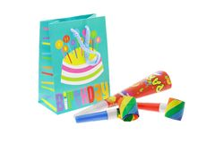 Colorful gift bag and party blowers Stock Photo