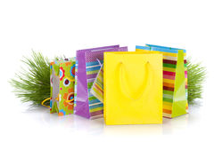 Colorful gift bags with christmas gifts Royalty Free Stock Images
