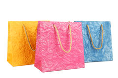 Colorful gift bags isolated on white. Royalty Free Stock Photography