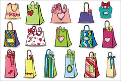 Colorful gift bags with shadow.Doodle set Stock Photos