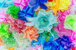 Colorful gift bows with ribbons Stock Photo