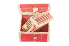 Colorful gift box. Made of bamboo on white background closeup Stock Photography