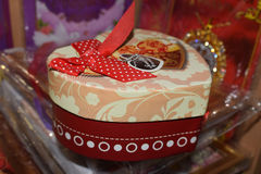 Colorful gift box. With bow heart Stock Image