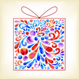 Colorful gift box. Gift box composed of floral elements royalty free stock photography