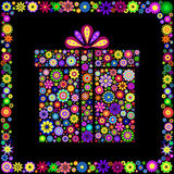 Colorful Gift Box On Black Background Royalty Free Stock Photos