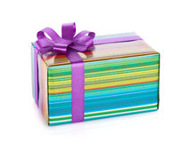 Colorful gift box with ribbon and bow Royalty Free Stock Photography