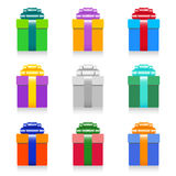 Colorful gift box set. On white background with reflection. vector illustration Royalty Free Stock Photography