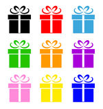 Colorful gift box symbol set Royalty Free Stock Image