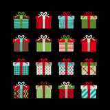 Colorful gift box vector icon set Royalty Free Stock Image
