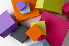 Colorful gift boxes. Shot from above on white background with soft shadow with space for copy Stock Photo