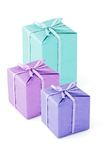 Colorful Gift boxes. With bow ribbons on white Royalty Free Stock Photo