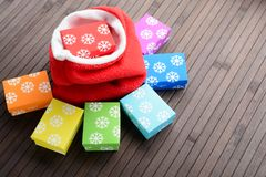 Colorful gift boxes and bag on the table Stock Image