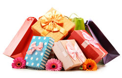 Colorful gift boxes and bags isolated on white Royalty Free Stock Photo