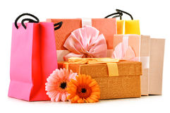 Colorful gift boxes and bags on white Stock Photography