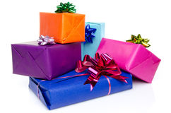 Colorful gift boxes with beautiful bows Stock Image