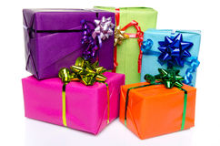 Colorful gift boxes with beautiful bows Stock Photography