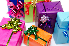 Colorful gift boxes with beautiful bows Royalty Free Stock Photo