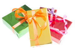 Colorful gift boxes Beautiful. Isolated white background. Stock Photo