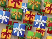 Colorful gift boxes with bows Stock Image